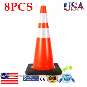 8packs 28 Reflective Traffic Cone Construction Road Emergency Safety Cones Pvc