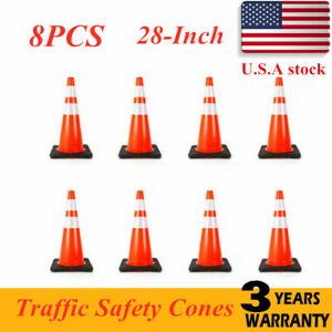 28 Traffic Cone Wide Body Safety Cones Fluorescent Road Construction Recyclable