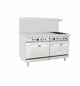 New Heavy 60 Range 48 Griddle 2 Burner 2 Full Ovens Range Stove Natural Gas