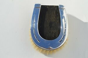 Antique Sterling Silver Top Horseshoe Shaped Hair Brush For Clothe Horse A