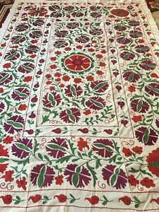 100 Original Uzbek Vintage Large Beautiful Handmade Wall Decor Embroidery Suzani