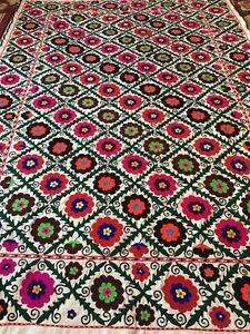 61 X 87 Uzbek Vintage Large Walldecor Quilt Bedding Handmade Embroidery Suzani