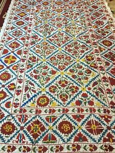 Multicolor Uzbek Vintage Large Quilt Bedding Walldecor Hand Embroidered Suzani
