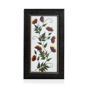 Wooden Fashion Handmade Aster Flower Patel S Neem Dry Leaf Painting 7x12