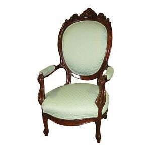 Vintage Carved Mahogany Victorian Style Parlor Chair