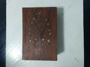 Vintage Wooden Box With Metal Inlay Hand Carved Inlaid Brass Vintage Wooden Box