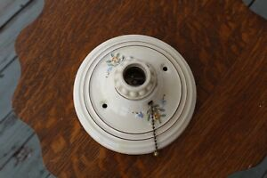 Vintage Art Deco Porcelier Porcelain Ceiling Wall Sconce Light Fixture Painted