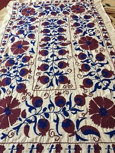 Medium Uzbek Vintage 100 Original Wall Decor Hand Embroidered Tablecloth Suzani