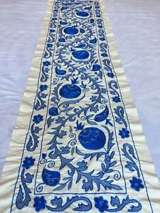 Beautiful Blue Uzbek Vintage Original Long Wall Decor Hand Embroidered Suzani