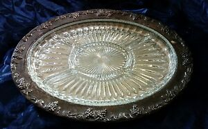 Alvin By Gorham Ep Silver Plate Serving Platter Crystal Divided Tray Insert