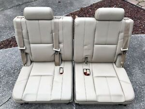 2007 14 Tahoe Yukon Suburban Cashmere Tan Leather 3rd Third Row Rear Seats Seat