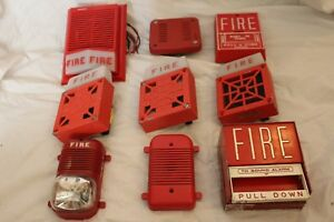 Vintage Fire Alarm Lot Of 9 Edwards Wheelock 7002t Fire lite Bg 6 Fos Chime