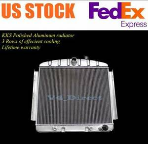 Polished Aluminum Radiator 3 Rows Fit 1955 56 Chevy Bel Air 6cyl Mounts V8 Only