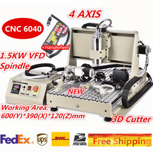 4 Axis 6040 Cnc Router Engraver Milling Machine Carving Desktop Handwheel 110v