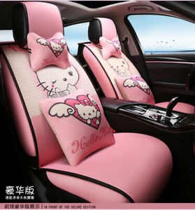 15 Pcs Mickey Mouse Car Seat Cover Plush Cute Cartoon Universal Accessories
