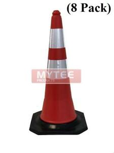 8 Pack Traffic Safety Cone 28 W Reflective Tape stackable