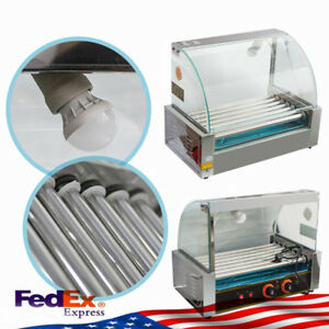 18 Hotdog Roller Commercial Bread Hot Dog 7 Roller Grill Cooker Machine W Cover