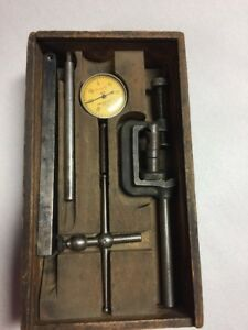 Vintage Starrett Dial Test Indicator 196a Wooden Box With Attachments