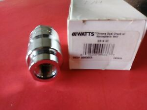 Watts Chrome Dual Check Valve With Atmospheric Vent 3 8 N 9c Nos
