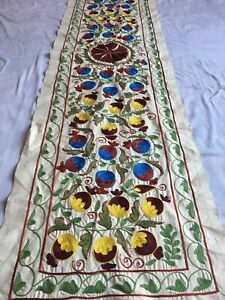 Multicolor Long Uzbek Vintage Original Wall Decor Hand Embroidered Suzani