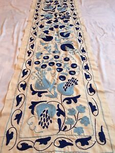 Beautiful Long Uzbek Vintage Original Wall Decor Hand Embroidered Suzani