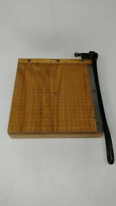 Vtg Ingento No 3 Guillotine Paper Cutter Slicer Wood Cast Iron Steel