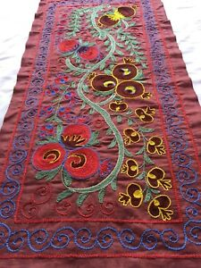 Vintage Beautiful Uzbek Original Wall Hanging Handmade Embroidery Suzani