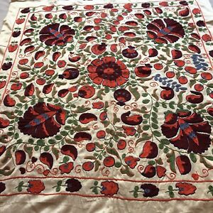 Original Uzbek Vintage Wall Decor Hand Embroidered Silk Tablecloth Suzani