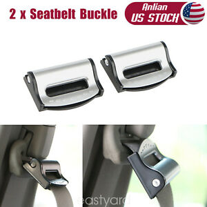2 X Car Seat Belt Buckle Adjusters Seatbelt Clip Locking Stopper Clamp Strap New