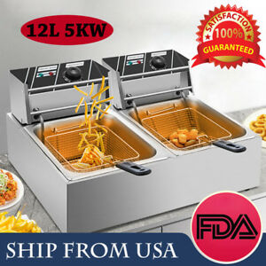 New 12l Electric Deep Fryer Food Frying Machine Home Commercial 5kw Dual Tank