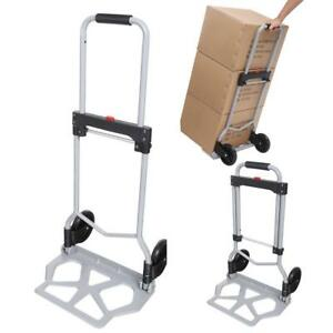 Portable Folding Hand Truck Dolly Luggage Carts 220 Lbs Capacity Silver