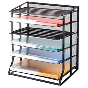 Mygift 6 Tier Black Metal Wire Mesh Vertical Trays Document File Holder office D