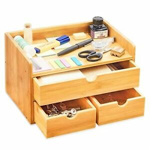 100 Natural Bamboo Wood Shelf Organizer For Desk With Drawers Mini Desk Sto