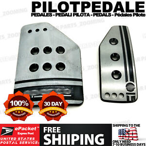 Silver 2 Pcs At S Style Universal Racing Non slip Automatic Car Pedals Pad Cy29