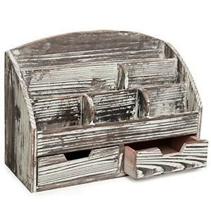 Rustic Style Wood Desktop Office Supplies Organizer Rack With 6 Compartment 2