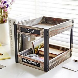 2 Tier Industrial Style Torched Wood Desktop Document Tray Paper File Holder Wi