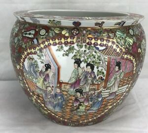 Antique Large Chinese Oriental Asian Pottery Porcelain Fish Bowl Planter Stamped