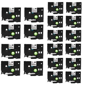 20pk Tze231 Black On White Label Tape For Brother P touch Pt d400 D600 1230 1 2