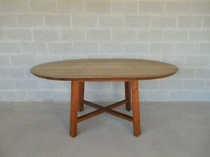 Crate Barrel Arts Crafts Style Teak Dining Extension Table 66 W