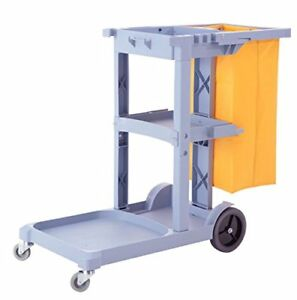 Janitorial Cleaning Cart Rolling Commercial Janitor Uitility With Vinyl Bag Gray