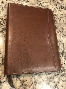 Day timer Brown Leather Zipper Binder Cover Measures 7 5 X 10 Planner Free Ship