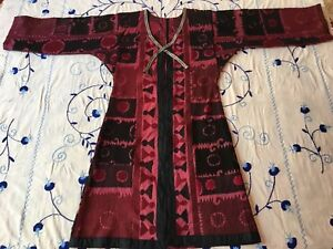 Beautiful Antique Uzbek Vintage Handmade Original Embroidery Suzani Robe Dress