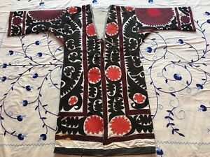 Embroidery Uzbek Antique Vintage Handmade Original Suzani Jacket Robe Dress