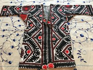 Original Vintage Uzbek Antique Handmade Embroidery Suzani Jacket Robe Dress