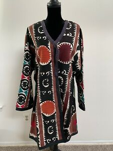 Uzbek Vintage Antique Handmade Original Embroidery Suzani Jacket Robe Dress