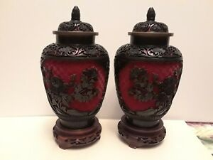 Pair Of Vintage Chinese Cinnabar Red Black Two Tone Vases With Wood Stand Lids