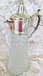 Vintage Wine Pitcher Decanter 15 Pressed Glass Diamond Point Silver Lid Handle