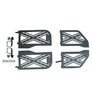 Flag Steel Tube Door Black With Reflection Mirror For 18 19 Jeep Wrangler Jl 4dr