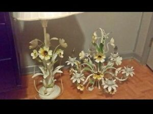Vintage French Country Italian Tole Metal Floral Hanging Chandelier And Lamp