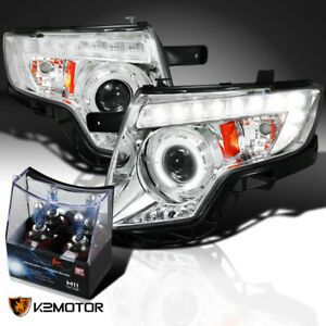 For 2007 2010 Ford Edge Clear Led Halo Projector Headlights H11 Halogen Bulbs